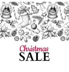 Christmas sale banner hand drawn vector image