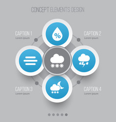 Climate icons set collection of flash snowy vector