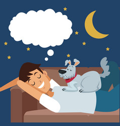 Colorful scene boy dreaming in sofa at night with vector