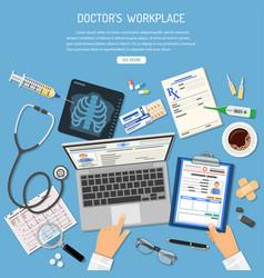 Doctors workplace and medical diagnostics concept vector