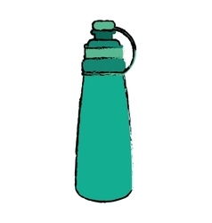 Drawing green bottle water hydration fitness gym vector