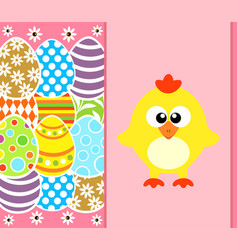 Easter background card with eggs and funny vector