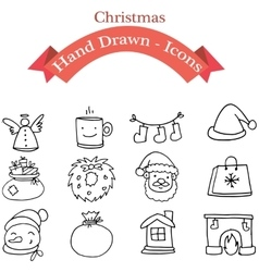 Element christmas icon set art vector