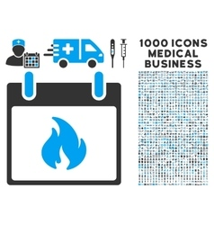 Flame calendar day icon with 1000 medical business vector