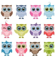 Funny owls and owlets set vector