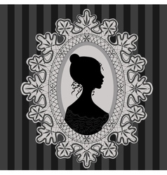 Girl in lace oval frame vector