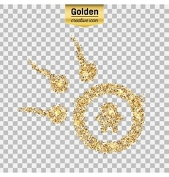 Gold glitter icon of spermatozoons vector