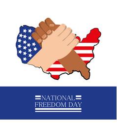 Hands together with flag celebrating national vector