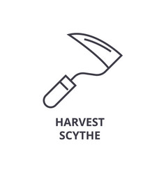 harvest scythe line icon outline sign linear vector image vector image