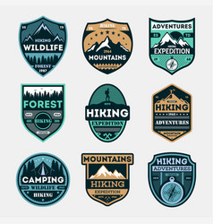 Hiking expedition vintage isolated label set vector