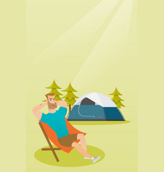 Man sitting in a folding chair in the camping vector