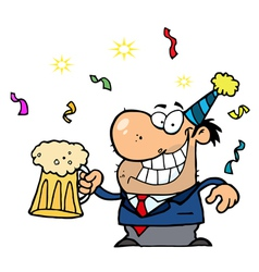 Man toasting at a new years party vector