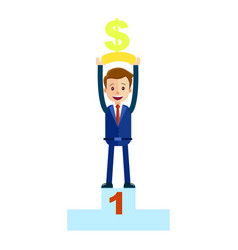 Manager top place with money dollar sign isolated vector