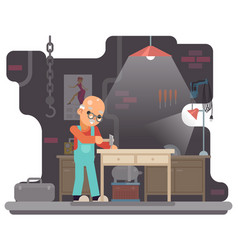 Old furniture maker hammers nail in a table retro vector
