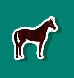 paper sticker on stylish background horse vector image