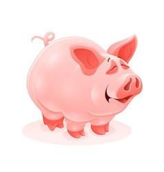 pink piggy young cartoon animal vector image