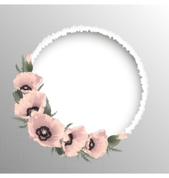 Pink poppies floral round frame vector image vector image