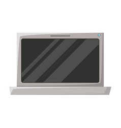 Realistic grayscale silhouette of laptop computer vector