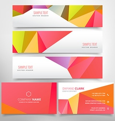 Red poly business stationary set vector