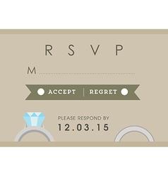 Rsvp wedding card ring theme vector