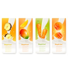 Set of banners with fruit and milk vector image vector image
