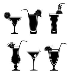 Set of black white cocktails vector