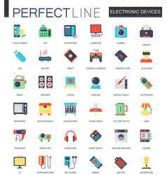 set of flat electronic devices icons vector image