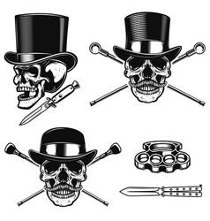 set of gentleman skull in vintage hats design vector image vector image