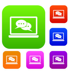 Speech bubbles on laptop screen set collection vector