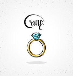 Stylish colored hipster fashion ring handmade in vector image vector image