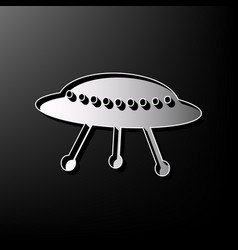 Ufo simple sign gray 3d printed icon on vector