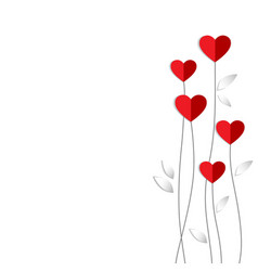 Valentine card with heart flowers made of vector