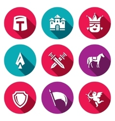 Set of kingdom icons knight castle vector