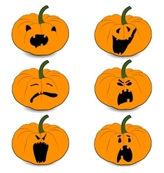 Halloweens pumpkin set icons vector