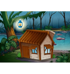 A house a lamp and a river vector