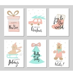 Merry christmas greeting card set with cute xmas vector
