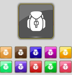 Backpack icon sign Set with eleven colored buttons vector image