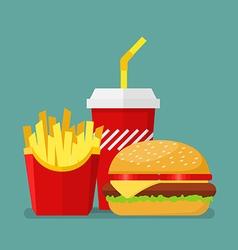 Hamburger french fries and soda vector