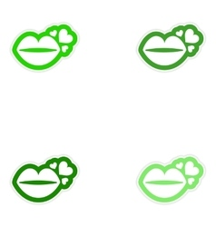 Set of paper stickers on white background kiss vector