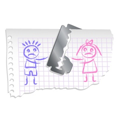boy and girl on a notebook paper vector image