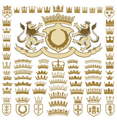 Heraldic crests and crowns collection vector
