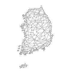 Map of south korea from polygonal black vector