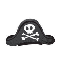 Cartoon style grunge classic pirate leather hat vector