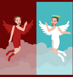 Angel and evil character represents good and bad vector