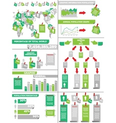 Infographic demographics post it green vector
