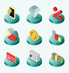 Finance flat isometric icons vector