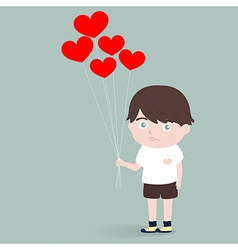 Little boy with heart balloons vector