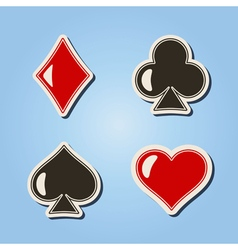 Color icons with suits of playing cards vector