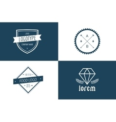 Vintage old style logo icon template set vector