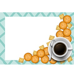 Cookies and coffee on border vector